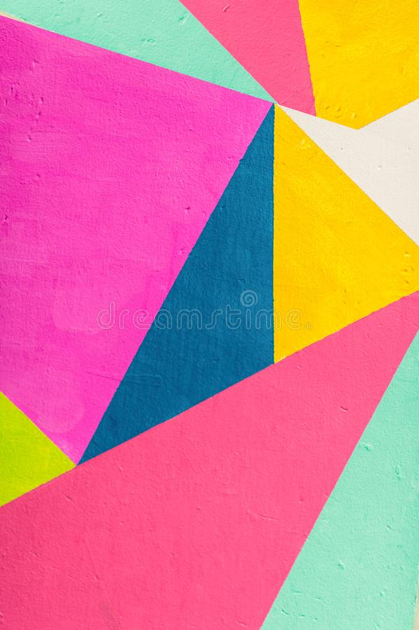Geometric background of wall with bright tones. pop art style royalty free stock images