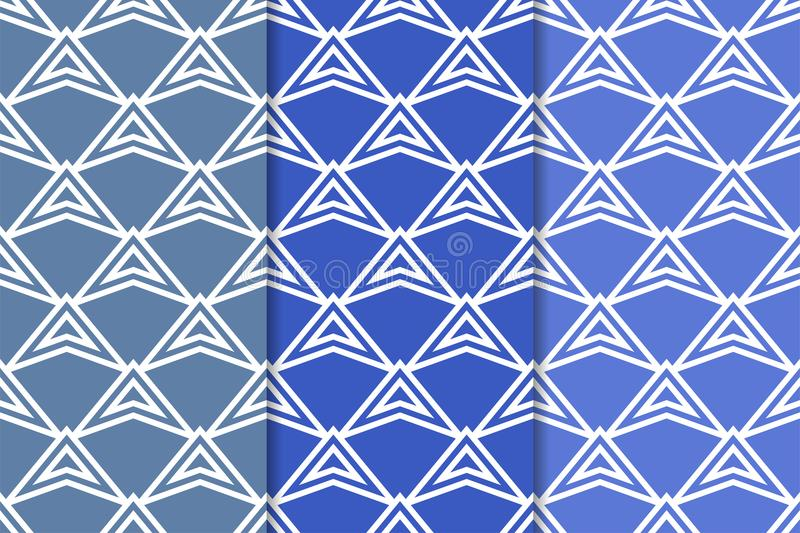 Geometric backgrounds. Blue vertical seamless wallpapers. Colored set royalty free illustration