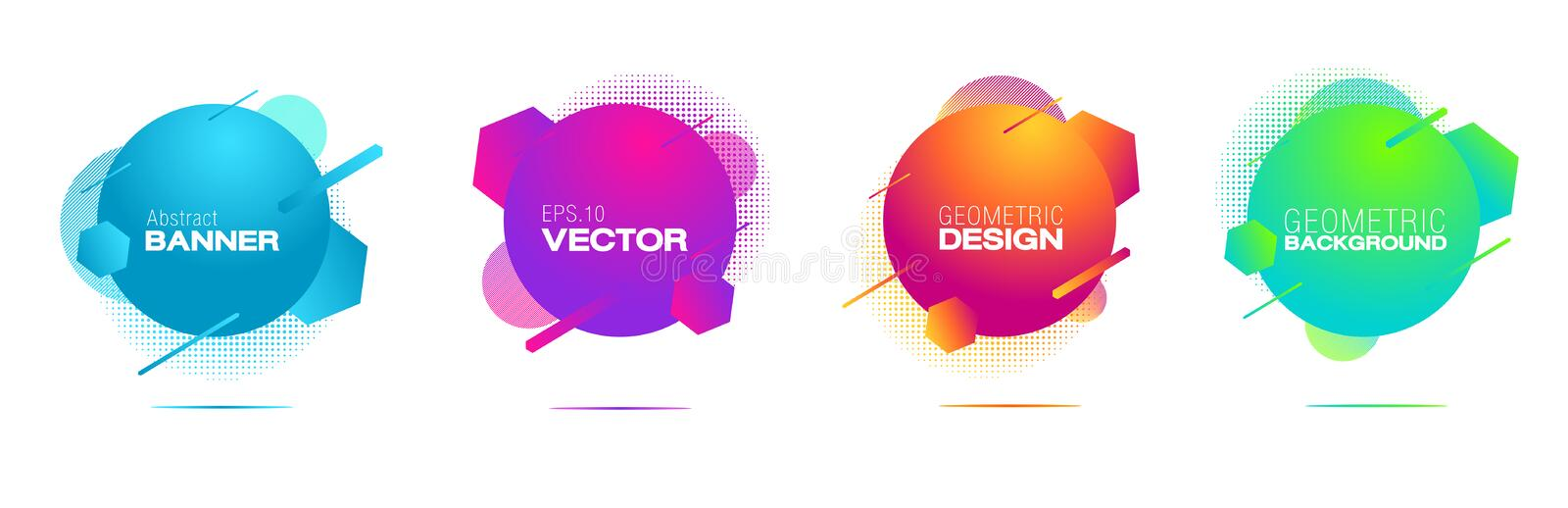 Geometric badges set.Circles, lines and patterns composition stock illustration