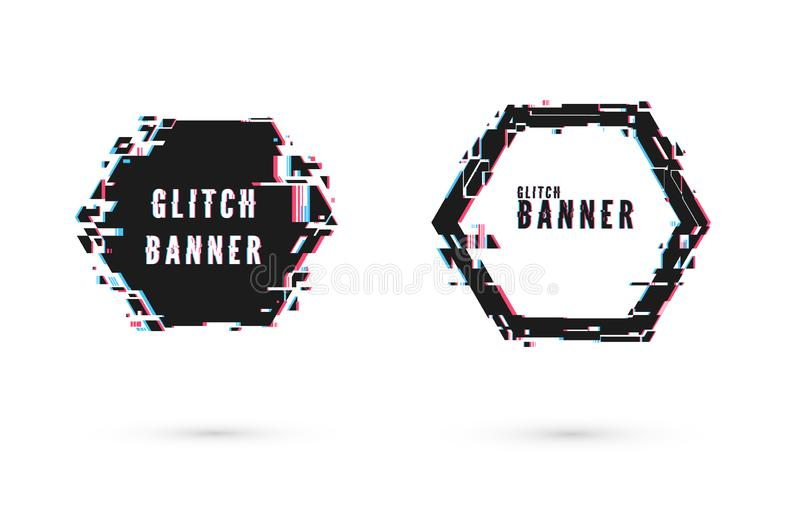 Geometric banner with distortion effect - Glitch. Hexagon shape frame. Digital technology modern poster and flyer template. Vector. Illustration isolated on vector illustration