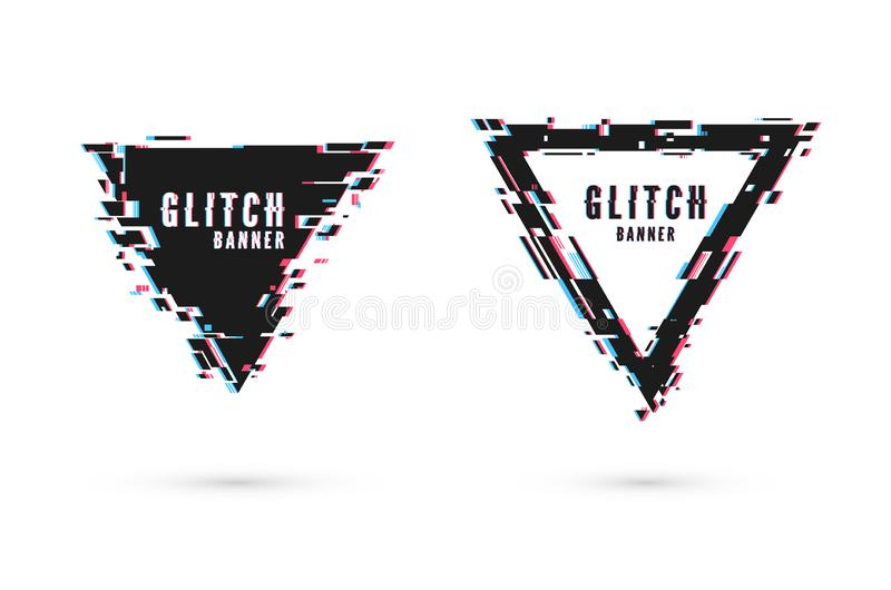 Geometric banner with distortion effect - Glitch. Triangle shape frame. Digital technology modern poster template. Geometric banner with distortion effect stock illustration
