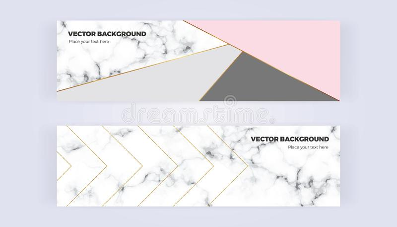 Geometric banner in gold, glitter, grey, pastel pink and marble texture background. Template for designs, card, flyer stock illustration