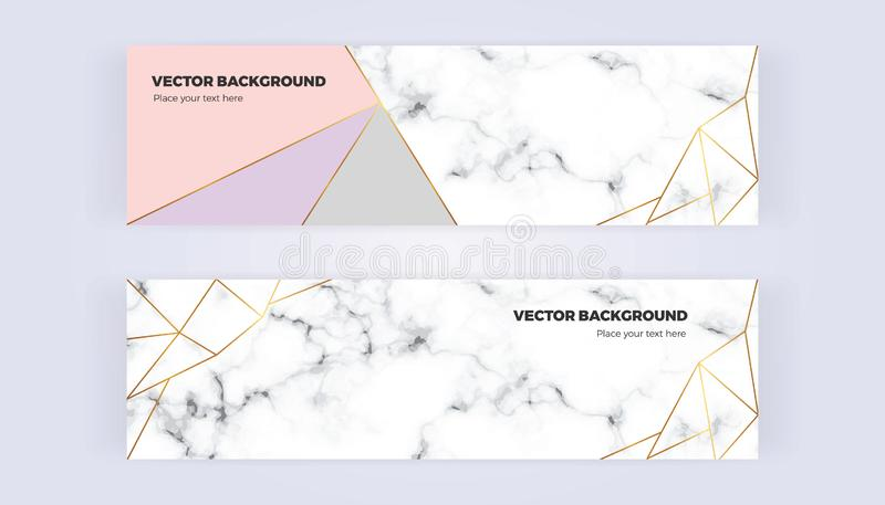 Geometric banner with gold lines, grey, pastel pink colors and marble texture background. Template for designs, card, flyer, invit stock illustration