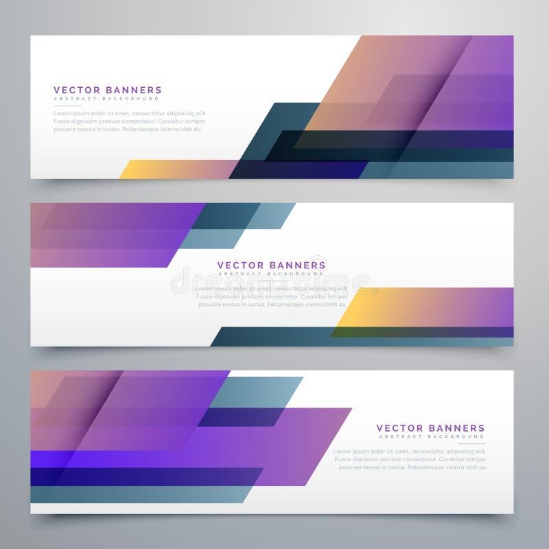Geometric banners set in elegant purple color shades vector illustration
