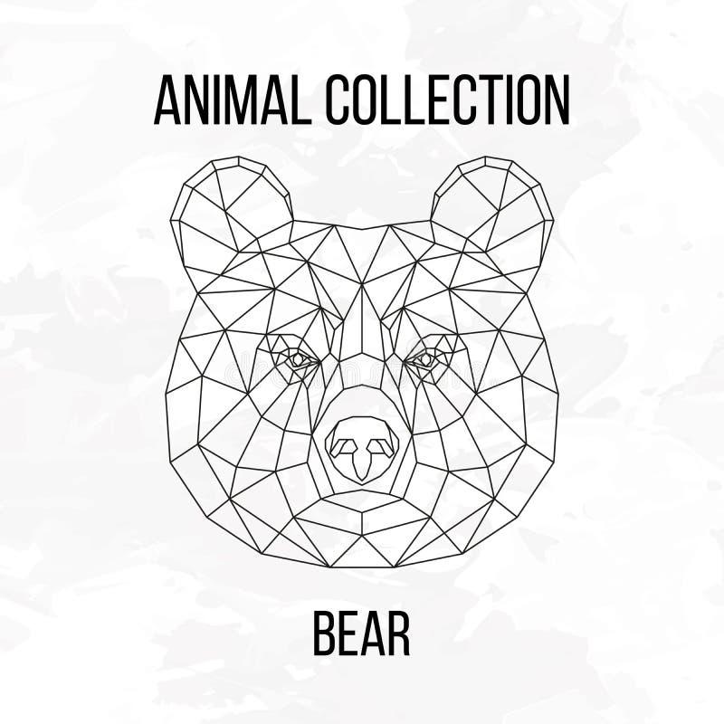 Geometric bear head vector illustration