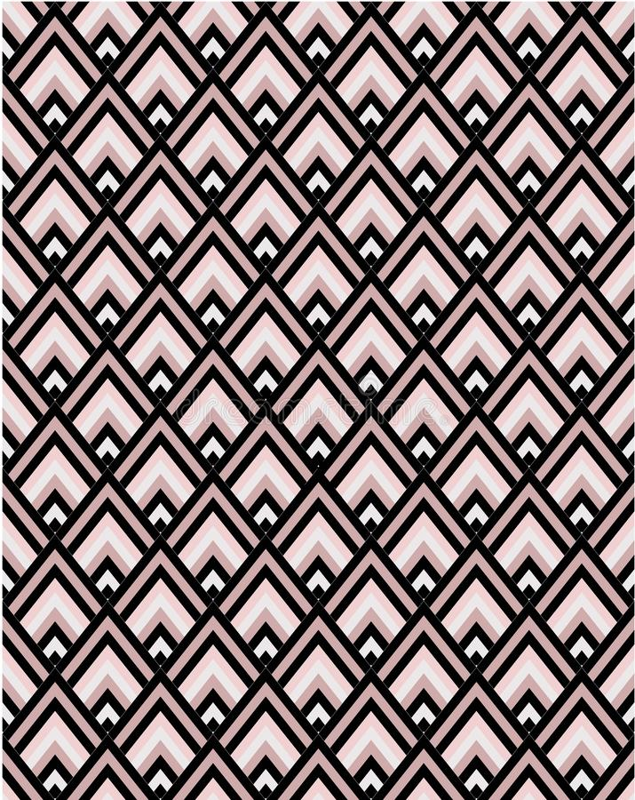 Geometric pink and black chevron seamless vector pattern tile. Geometric black and grey and pink seamless vector pattern tile vector illustration