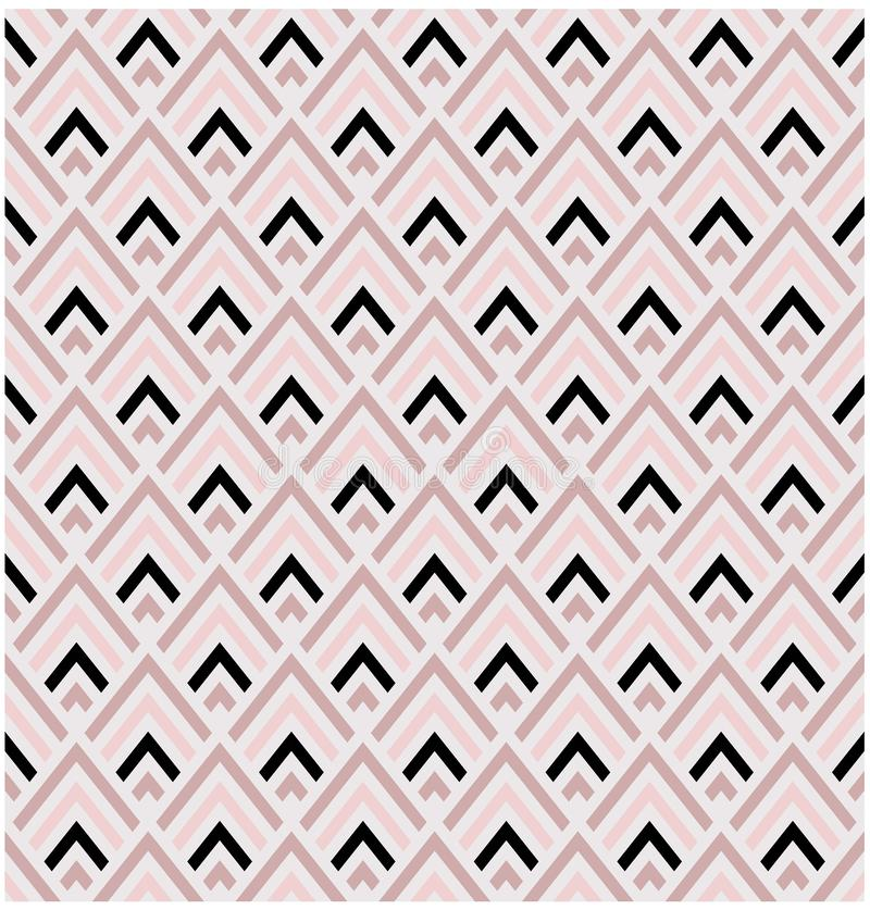 Geometric pink and black diamond shapes seamless vector pattern tile stock illustration