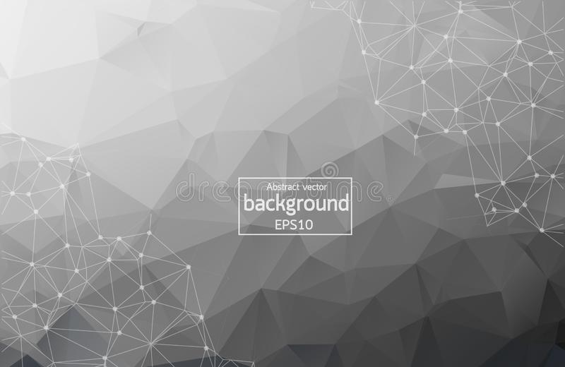 Geometric Black Polygonal background molecule and communication. Connected lines with dots. Minimalism chaotic illustration vector illustration