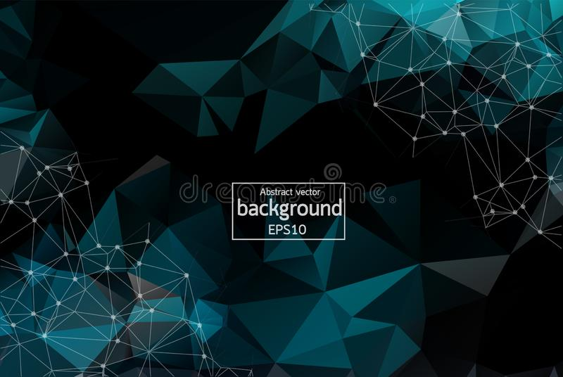 Geometric Black Polygonal background molecule and communication. Connected lines with dots. Minimalism chaotic illustration royalty free illustration