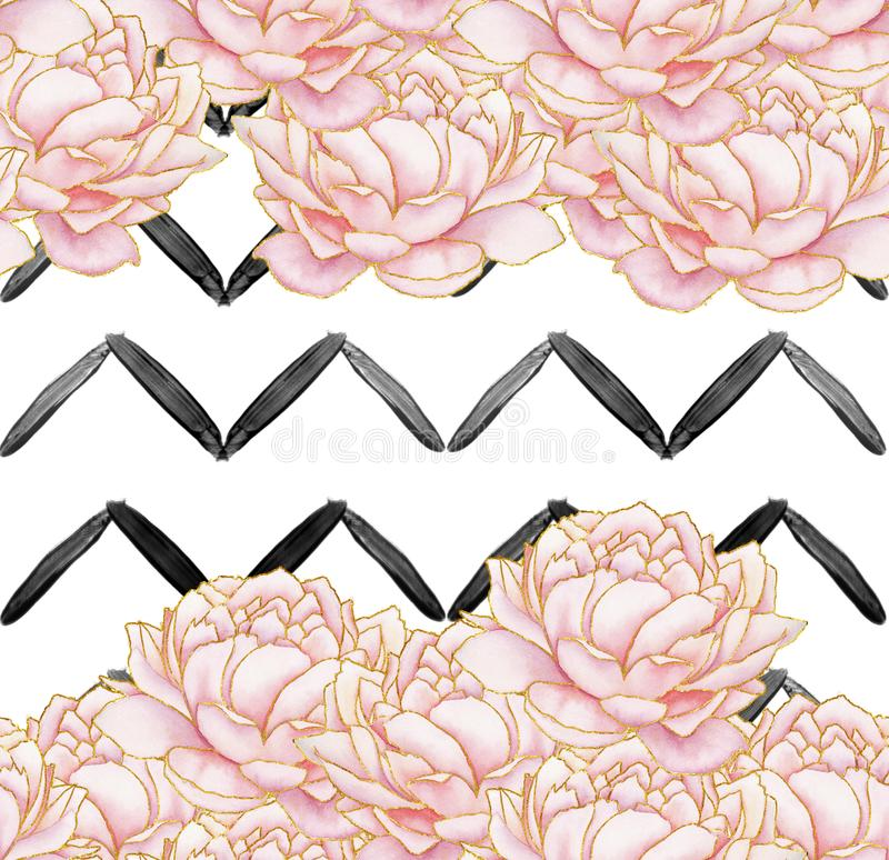 Seamless Pattern - geometric black stripes with pink peonies on white background stock illustration