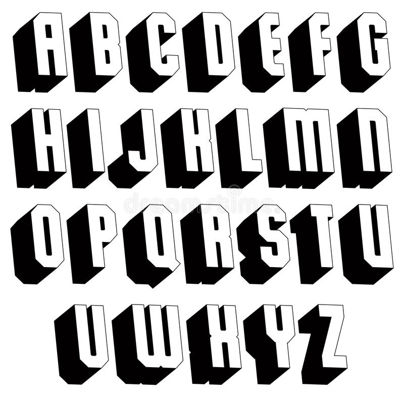 Geometric black and white 3d font. Geometric black and white 3d font, single color simple bold and heavy letters alphabet, best for use in web design and stock illustration