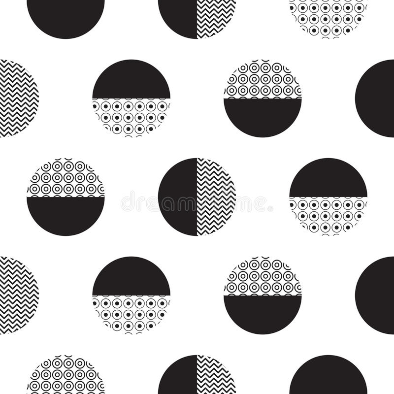 Geometric black and white dotted circles minimalistic pattern. royalty free illustration