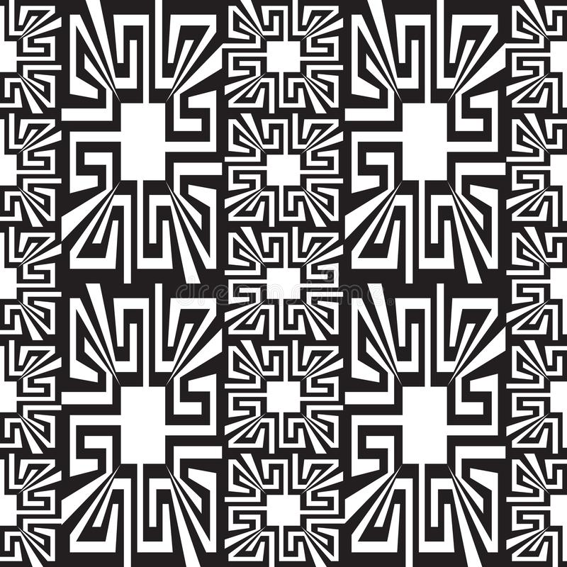 Geometric black and white greek vector seamless borders pattern. Ornamental abstract monochrome background. Creative design. royalty free illustration