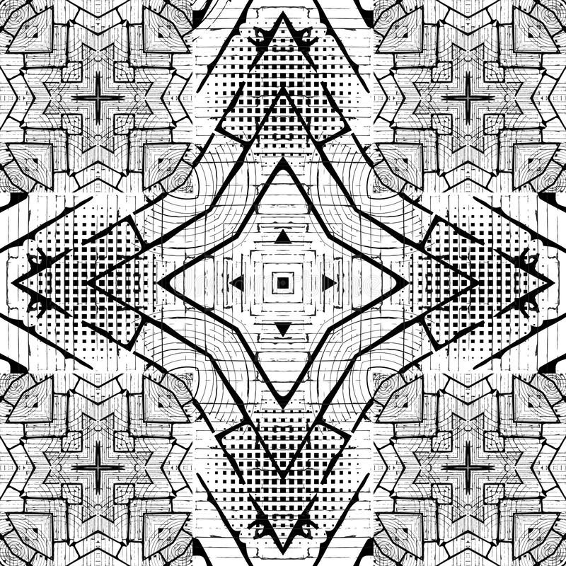 Geometric black and white grunge vector seamless pattern. Modern monochrome ornamental rough background. Dirty repeat royalty free stock images