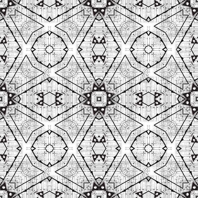Geometric black and white grunge vector seamless pattern. Modern monochrome ornamental rough background. Dirty repeat royalty free stock photography