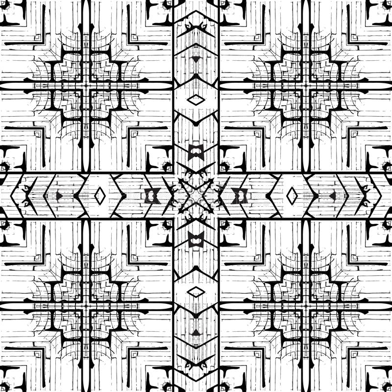 Geometric black and white grunge vector seamless pattern. Modern monochrome ornamental rough background. Dirty repeat stock photography