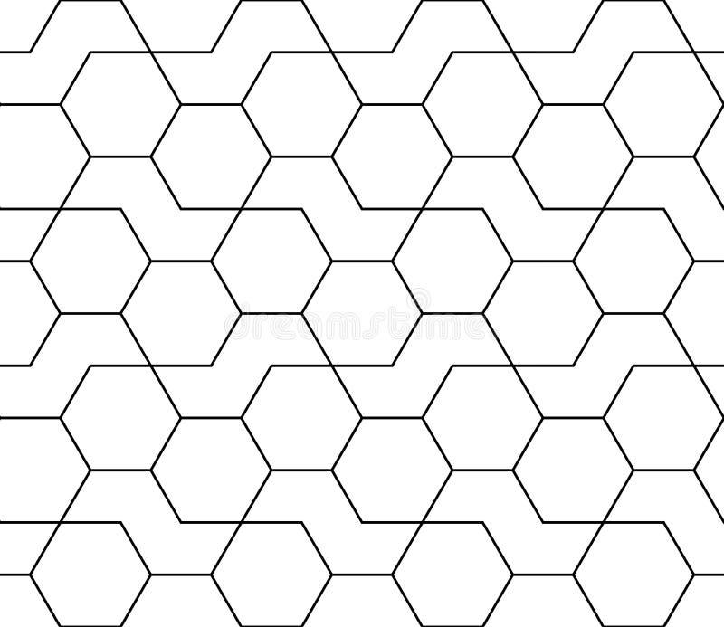 Geometric black and white hipster fashion design print hexagon pattern vector illustration