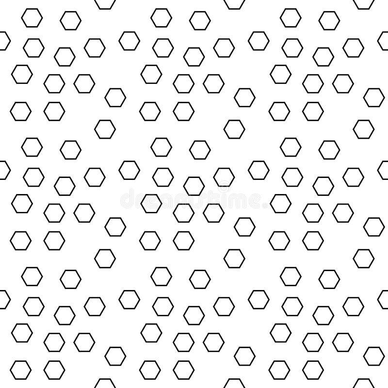 Geometric black and white hipster fashion random hexagon pattern. Abstract geometric black and white hipster fashion random hexagon pattern royalty free illustration