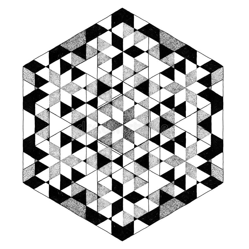 Geometric Black And White Mandala Abstract Pattern Tattoo Stock Illustration - Illustration Of ...