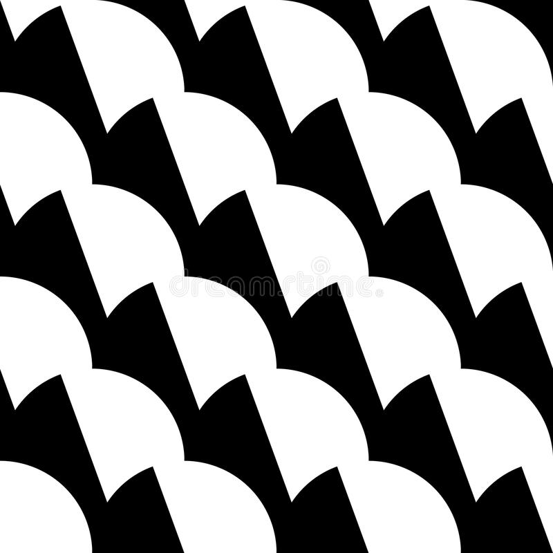 Geometric black and white pattern / background. Seamlessly repeatable. royalty free illustration