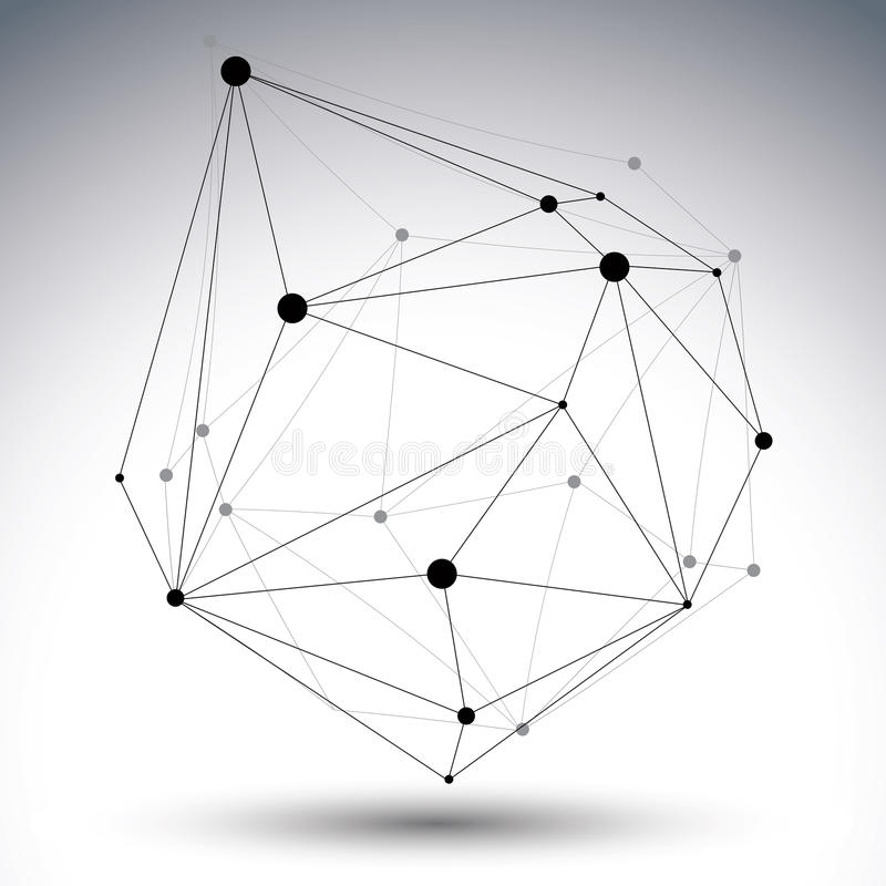 Geometric black and white polygonal structure with wire mesh stock illustration