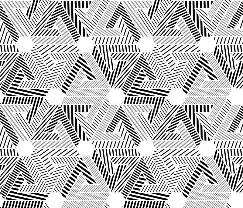 Geometric black and white seamless pattern, endless striped vector background. Monochrome abstract covering with hexagons and royalty free illustration