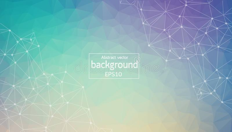Geometric Blue and Purple Polygonal background molecule and communication. Connected lines with dots. Minimalism background. Conce stock illustration