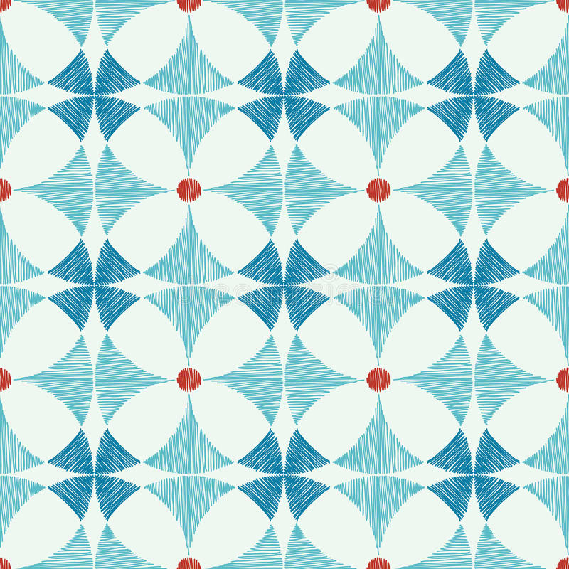 Geometric Blue Red Ikat Seamless Pattern Royalty Free Stock Photos