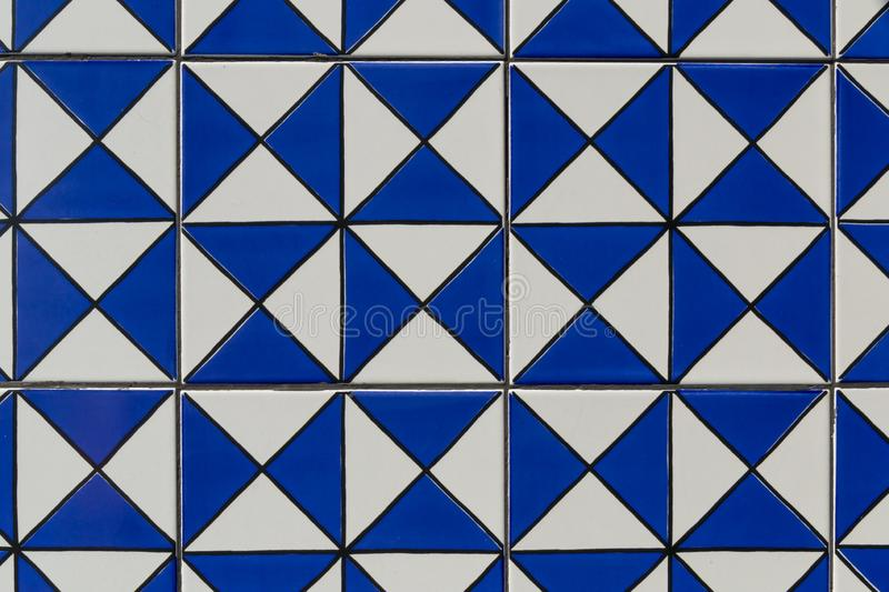 Geometric blue tile pattern texture background and wallpaper. Ceramic, mosaic, bathroom, color, design, detail, kitchen, surface, tiled, white, floor, abstract royalty free stock photo