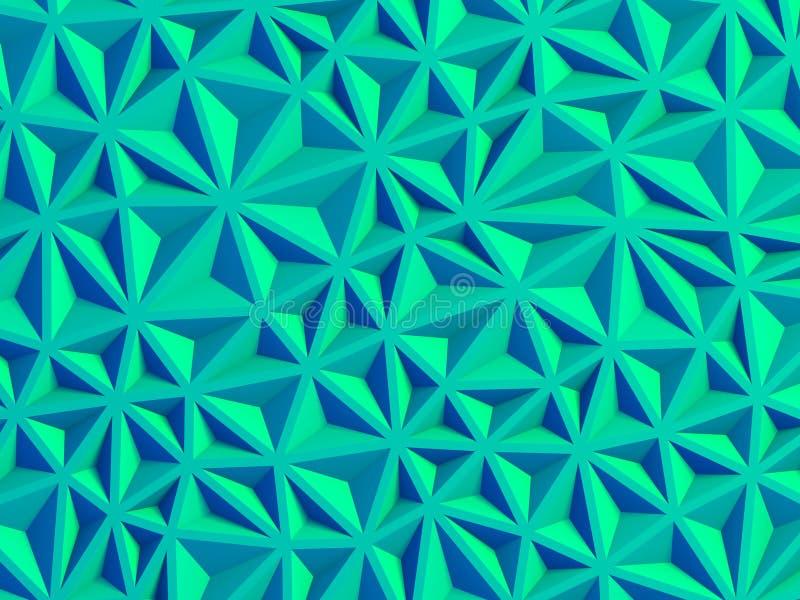 Geometric blue triangle poligon wall background. 3d render illustration stock photos