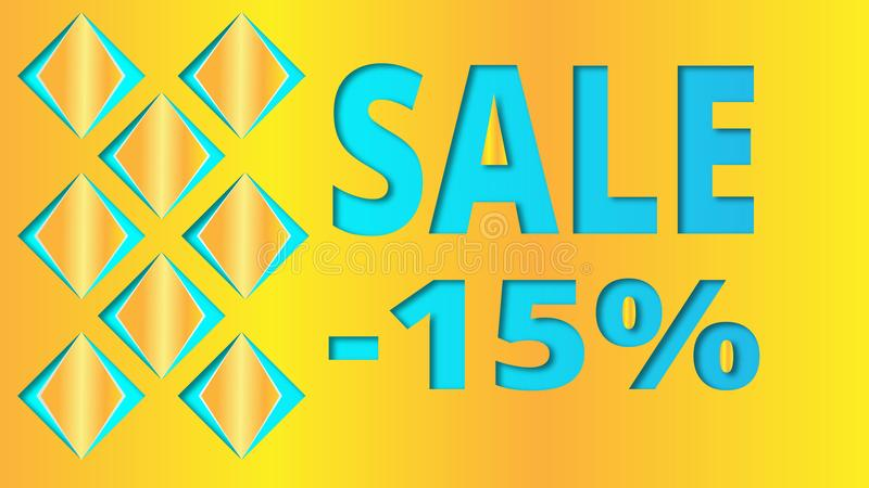 Geometric blue yellow background with Sale and three-dimensional squares for website decoration, banner, leaflet, booklet. stock illustration