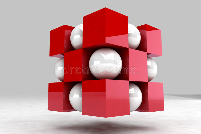 Geometric body made of white balls and red cubes. 3D render image vector illustration
