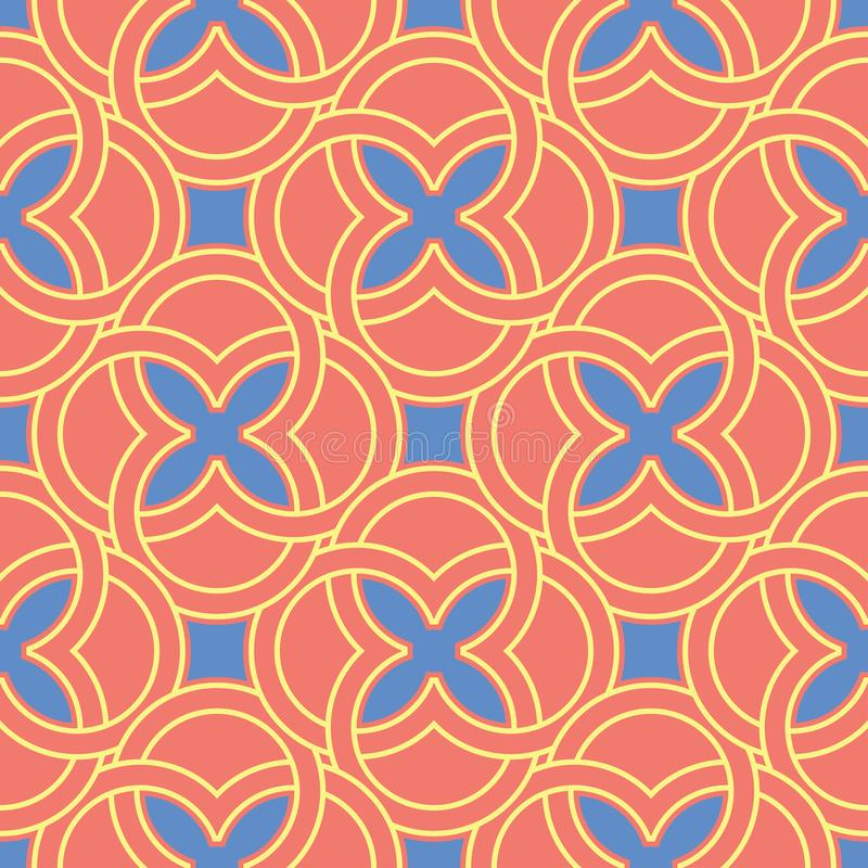 Geometric bright multi colored seamless background. Blue and beige elements on orange background stock illustration