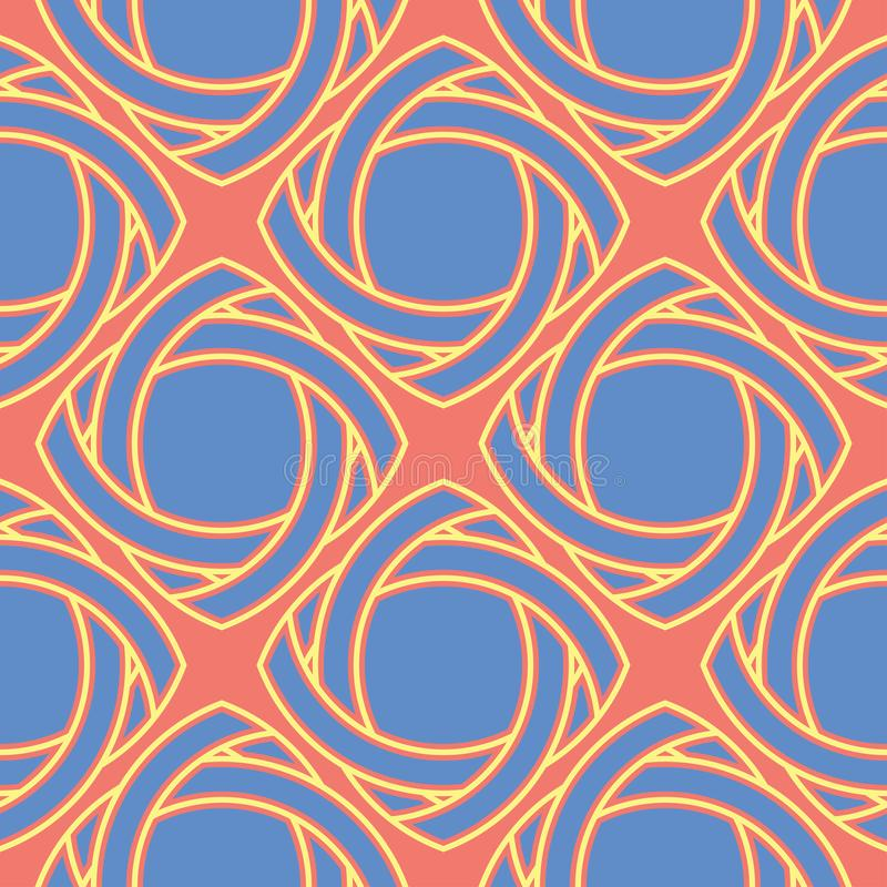 Geometric bright multi colored seamless background. Blue and beige elements on orange background royalty free illustration