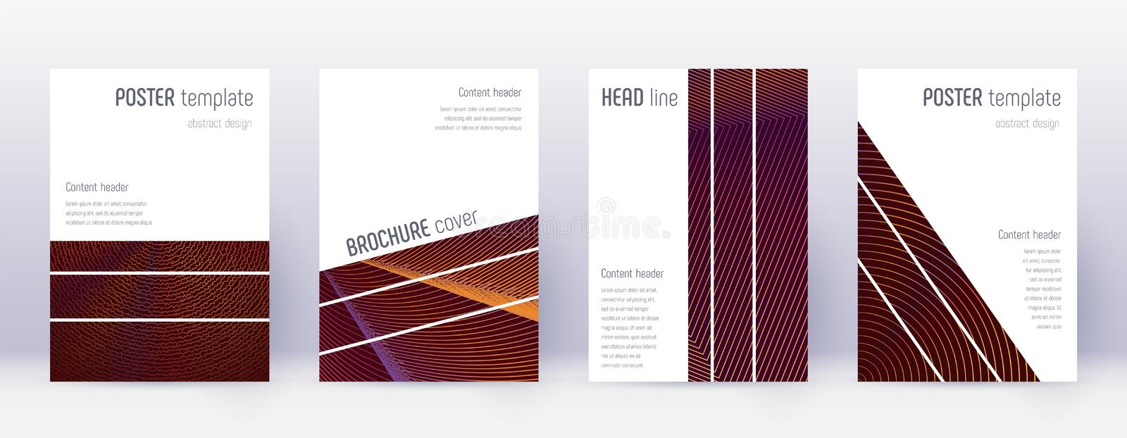 Geometric brochure design template set. Orange abs vector illustration