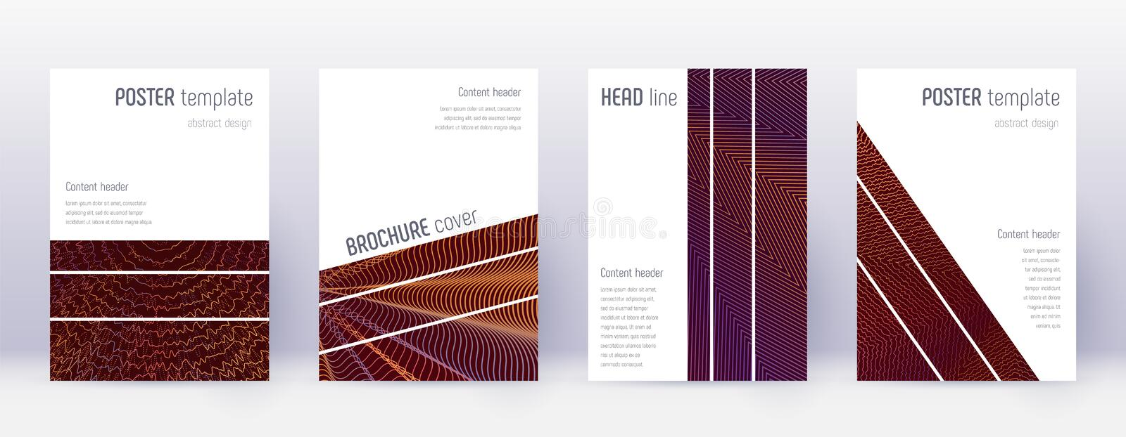 Geometric brochure design template set. Orange abs stock illustration