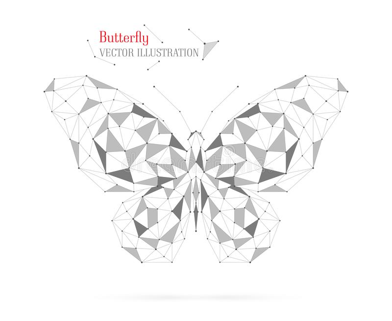 Geometric butterfly polygon with triangles, circles, and lines. royalty free stock images