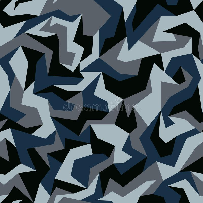 Free Geometric Camouflage. Urban Clothing Style, Abstract Camo Pattern Background. Blue, Navy And Gray Colors, Seamless Texture. Stock Images - 151469374