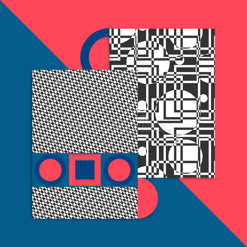 Geometric card vector. Illustration. Postcard banner cover for ebooks. The Bauhaus Style royalty free illustration