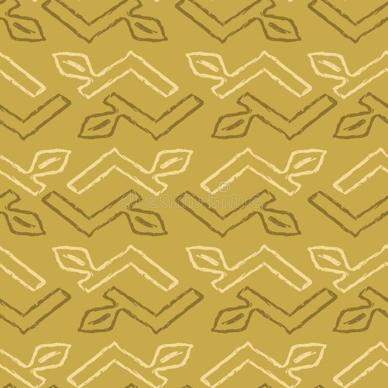 Geometric Chevron Leaf Stripes Seamless Vector Pattern, Hand Drawn Grunge Stem Illustration stock illustration
