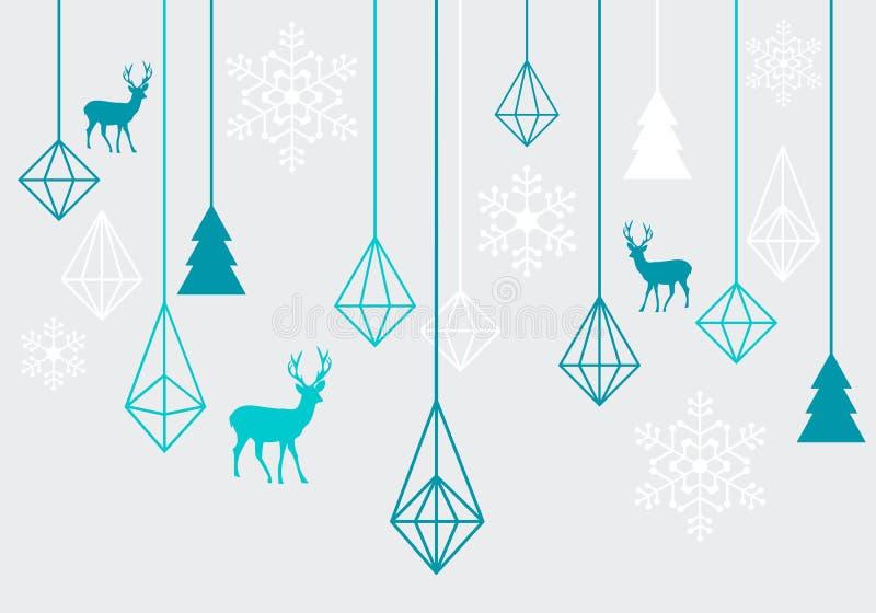 Geometric Christmas ornaments, vector royalty free illustration