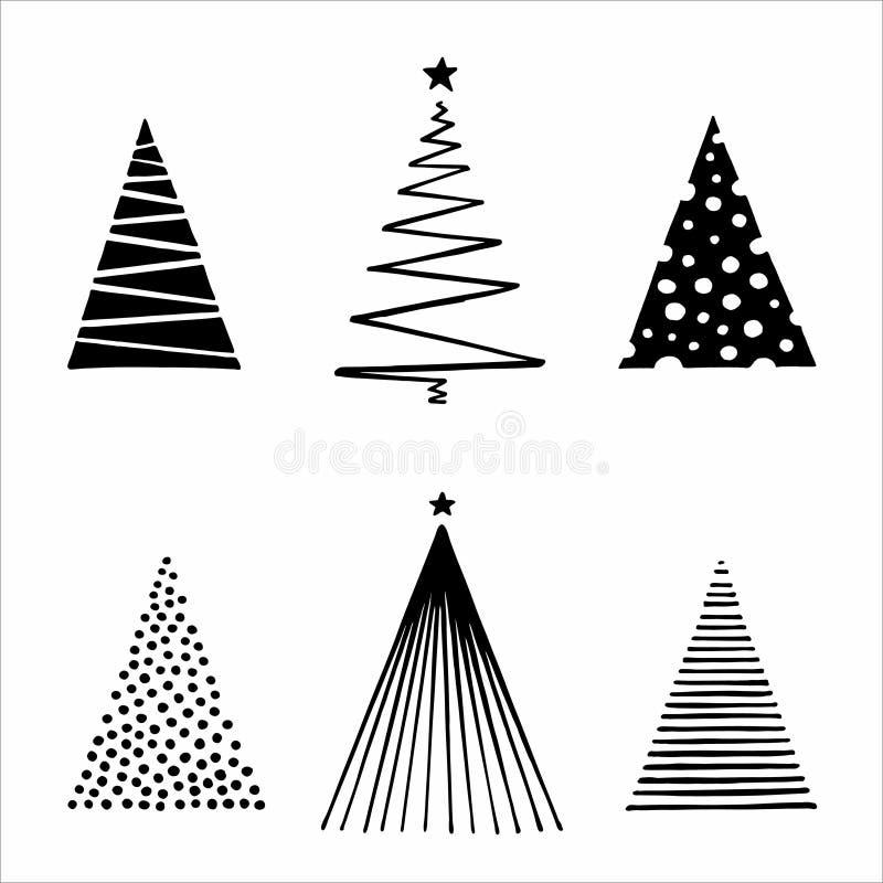 几何圣诞树矢量集 向量例证