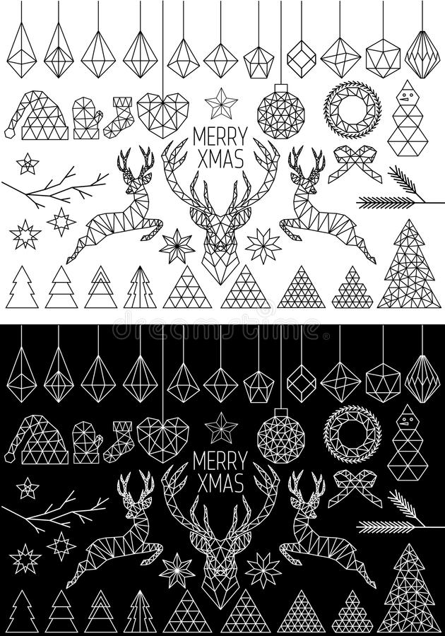 Geometric Christmas, vector set stock illustration