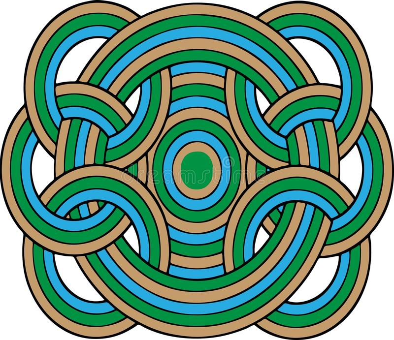 Geometric Circles. Multicolored geometric interconnected circles, in blues, greens, and browns and isolated on a white background. Illustration royalty free illustration