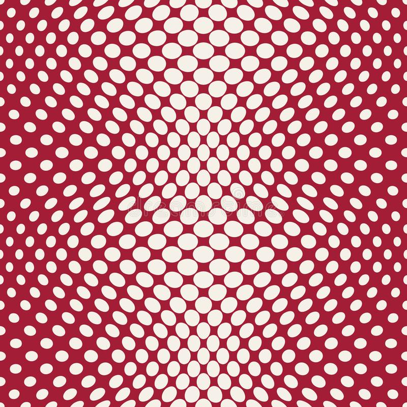 Geometric circles gradient halftone seamless red pattern. Background stock illustration