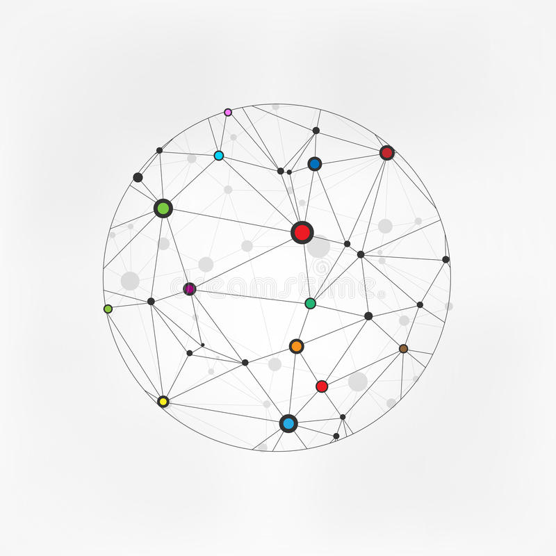 Geometric Circles Molecular. Wireframe connecting earth sphere. Globe connection concept. Globe structure connect. on gre royalty free illustration