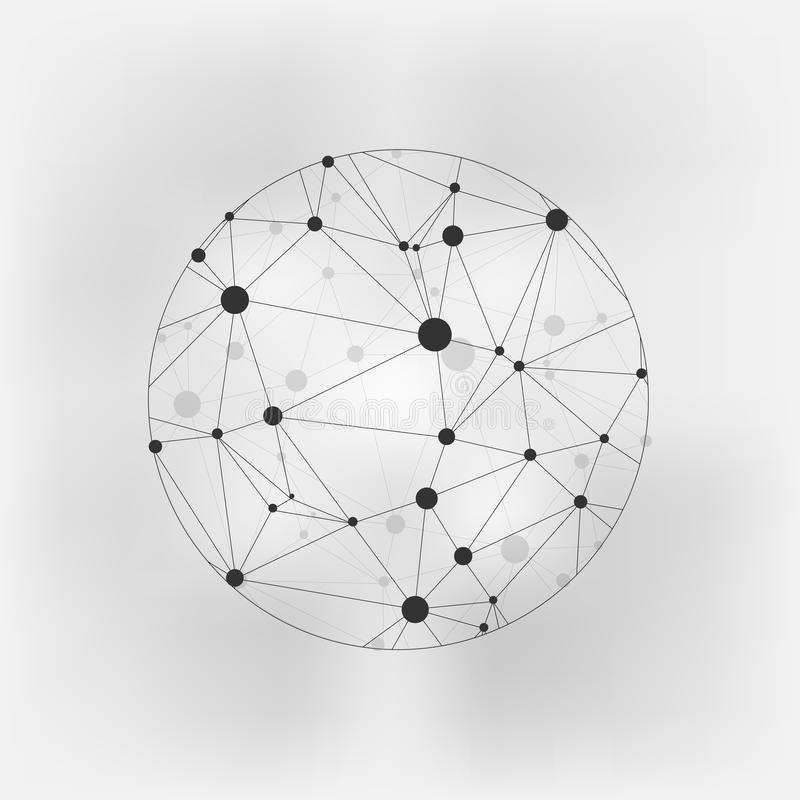 Geometric Circles Molecular. Wireframe connecting earth sphere. Globe connection concept. Globe structure connect. on gre stock illustration