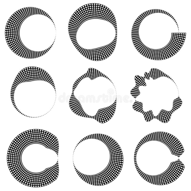Geometric circular dotted elements with distortion. 9 different vector illustration