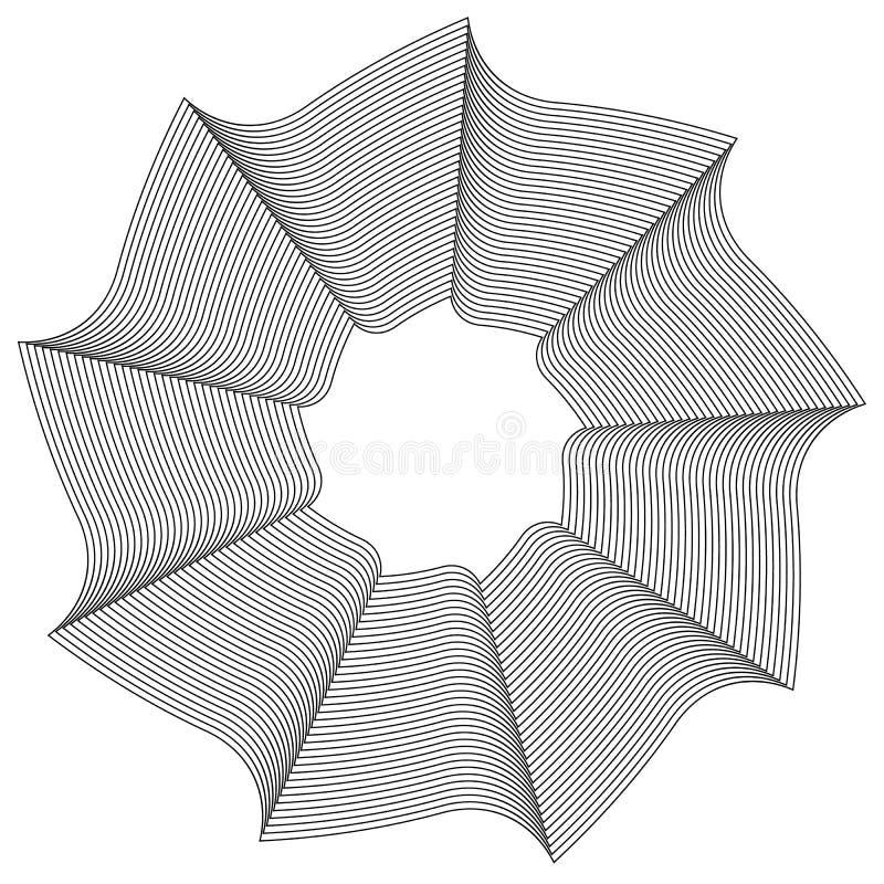 Geometric circular element - Rotating spiral, swirl shape. Royalty free vector illustration royalty free illustration