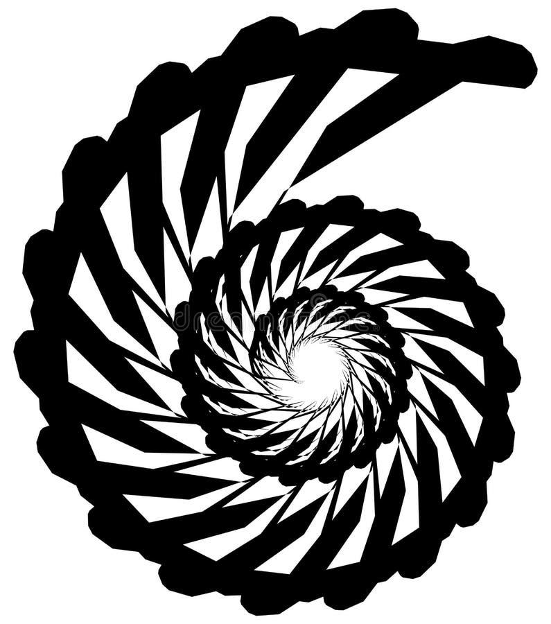 Geometric circular spiral. Abstract angular, edgy shape in rotating fashion. Royalty free vector illustration royalty free illustration